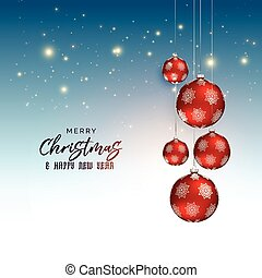 festival christmas greeting design with red hanging balls
