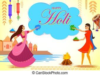 festival, coloré, heureux, célébration, salutations, holi, fond, couleurs