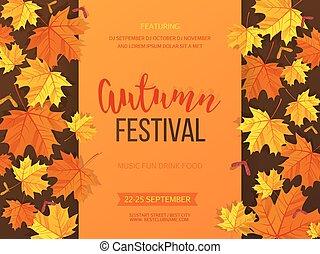 festival, convite, leaves., ilustração, outono, experiência...