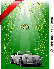 festival, coperchio, sfondo verde, matrimonio, opuscolo, o