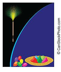 festival, couleurs, holi