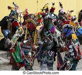 Festival Dancers - Mayan dancers entertain the locals in...