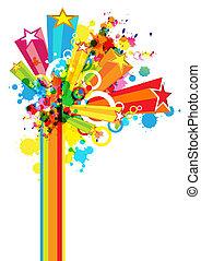 festival, dekoration, abstrakt, färgrik, bakgrund