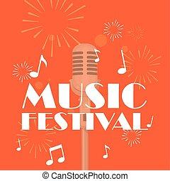 festival, disegno, musica, isolato, vettore, microfono