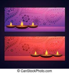 festival, diwali, ensemble, bannières