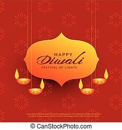 festival, diwali, hils, indisk, konstruktion, hængende, lamper, card