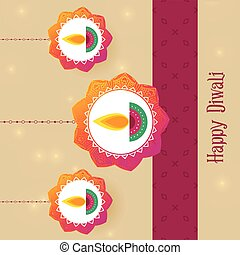 festival, diwali, salutation, fond, créatif