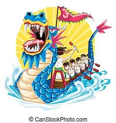 festival, duanwu, bote, dragão