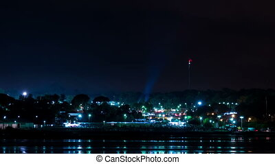 festival, en mouvement, projecteurs, nuit