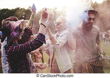 festival, entiers, énergique, holi, gens