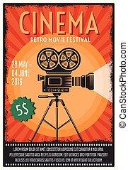 festival, film, retro, affiche