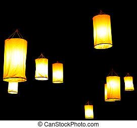 festival, flotter, lanterne