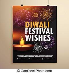 festival, flyer, diwali, hils, indisk, konstruktion, skabelon