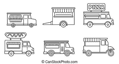 Festival food truck icon set, outline style