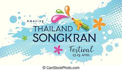 festival, fusil, songkran, eau, surprenant, éclaboussure, thaïlande