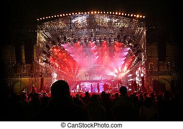 festival, grande, palcoscenico