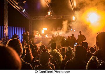 festival, grande, pubblico, musica, vista, festa, palcoscenico