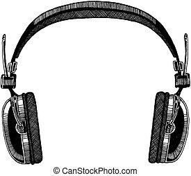 festival., heaphones., aislado, ilustración, fondo., vector, música, roca, blanco