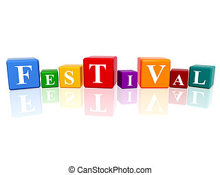 3d colourful cubes with letters makes festival