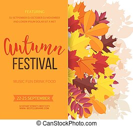 festival, invitation, leaves., illustration, automne, arrière-plan., vecteur, automne, bannière