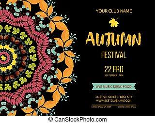 festival, invitation, leaves., illustration, automne,...