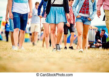 festival, jambe, ados, ensoleillé, unrecognizable, musique,...