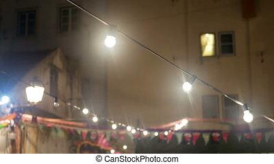 festival, lumière, vie, soir