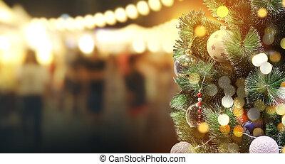 festival, luz, árvore, bokeh, noturna, natal