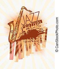 festival, música jazz, fundo, modelo