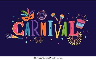 festival, mascarade, carnaval, aviateur, vecteur, musique, brésilien, conception