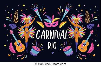 festival, mascarade, carnaval, vecteur, musique, aviateur, brésilien, conception, gabarit