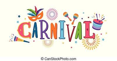 festival, mascherata, carnevale, aviatore, vettore, musica, brasiliano, disegno