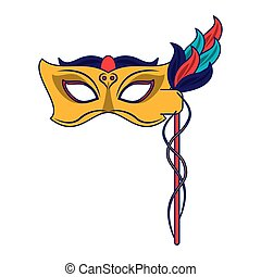 Festival mask with feathers blue lines