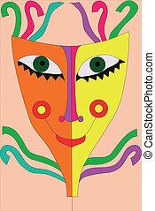 festival, maskera, med, remsor