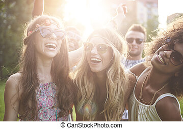 festival, meninas, dançar