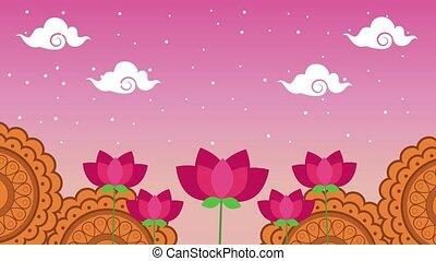 festival, mi, fleurs, animation, automne, dentelle, scène