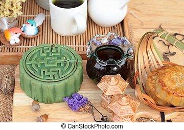 Festival moon cake - china dessert with green tea.