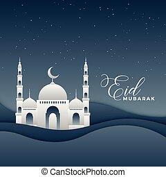 festival, mosquée, conception, eid, nuit, paysage, 3d