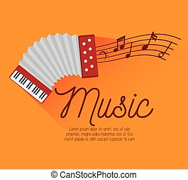 festival music accordion notes icon design