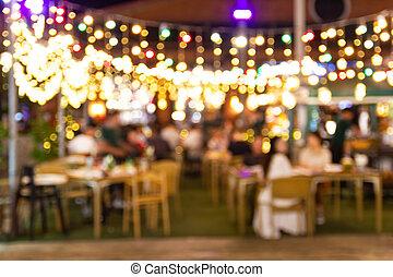 festival, nöje, tycka om, folk, avbild, suddig, restaurang, natt, lott, pub, hinder