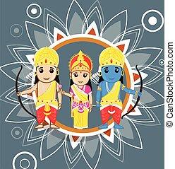 festival, navami, marteau, -, hindou