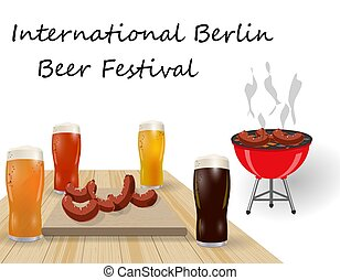 Festival of beer. Different types of beer in glasses. Barbecue and grilled dishes, sausages, hot dog. illustration
