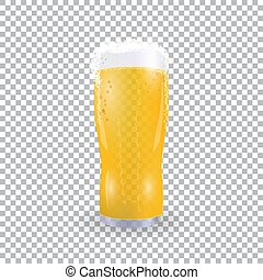 Festival of beer. Light beer in a glass with foam on a checker background. illustration