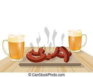 Festival of beer. Light beer in mugs. Fried dishes, sausages, hot dogs on wooden boards. illustration