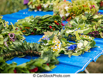 Festival of midsommar in Warsaw - Wreaths of flowers on a...
