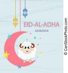 Festival of sacrifice Eid-Ul-Adha. Lettering translates as...