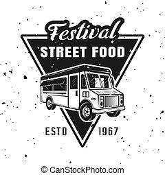 Festival of street food vector monochrome emblem