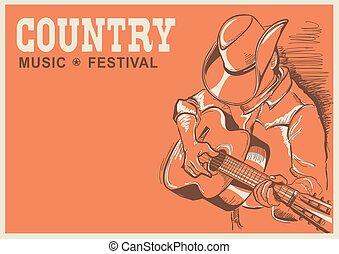 festival, país, músico, guitarra, americano, música, cartaz, tocando