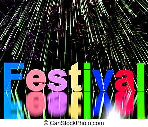 festival, palavra, com, fogos artifício, mostrando,...