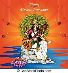 festival, panchami, indisk, puja, saraswati, vasant, ...